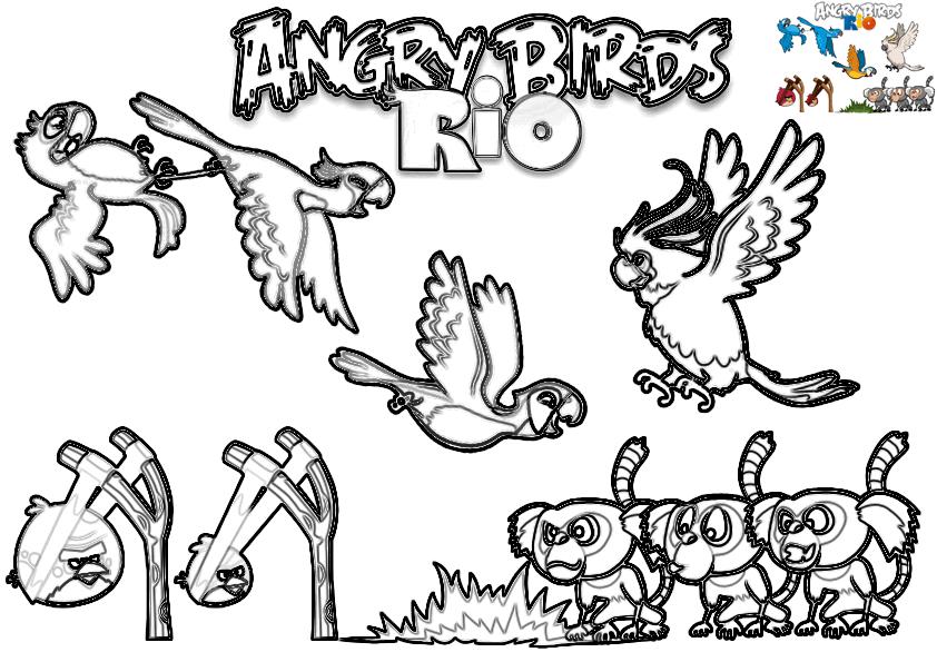 Dibujo Para Colorear De Angry Birds Rio Pelea De Buenos