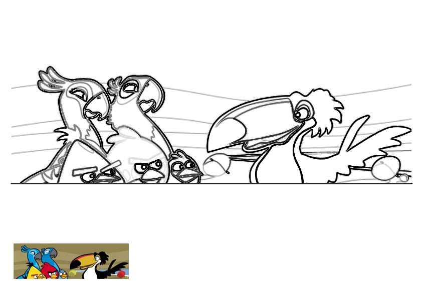 Dibujo para colorear de Angry Birds Rio: Perla, Blu y los Angry Birds escuchan a Rafael