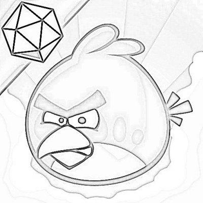 Dibujos Para Colorear De Angry Birds Red Bird Tiene Un Diamante