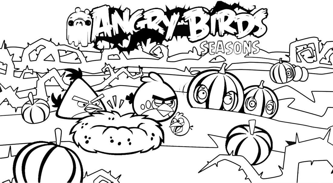 Dibujo Para Colorear De Angry Birds Seasons Red Pájaro