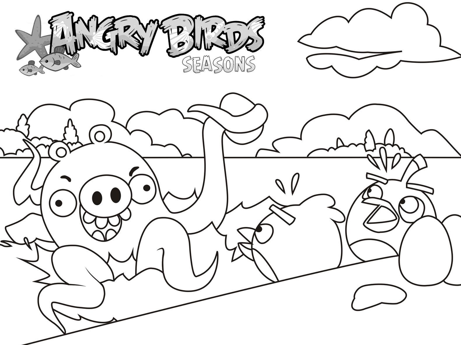 Dibujo para colorear de Angry Birds Seasons: Red y Black ven un pulpo gigante