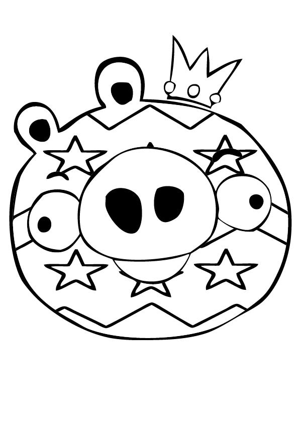 Dibujo para colorear de Bad Piggies: Rey Cerdo con la cara pintada