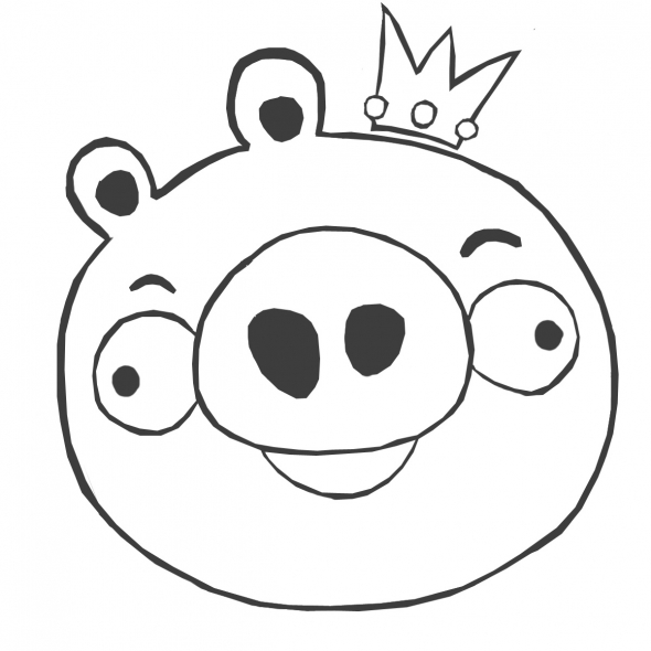 Dibujo para colorear de Bad Piggies: Rey Cerdo sonriendo