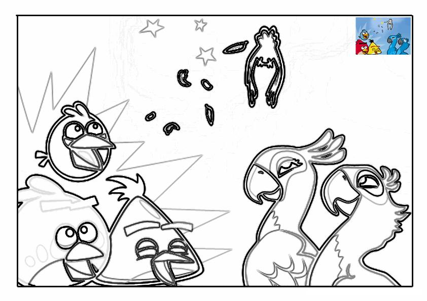 Dibujo para colorear de Angry Birds Rio: Yellow,Blue y Red dan las gracias a Perla y Blu